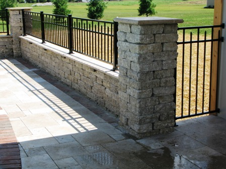 These Photos Show A 2 Natural Stone Wall With End Pillars We Custom Ordered The Fence To Match Height Of Sitting On Top